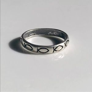 WJ Sterling Silver Ring Band 5.5 Ichthys Fish